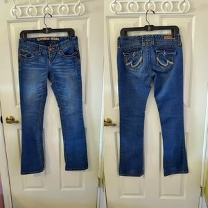 Express Ultra Low Rise Medium Wash Bootcut Jeans